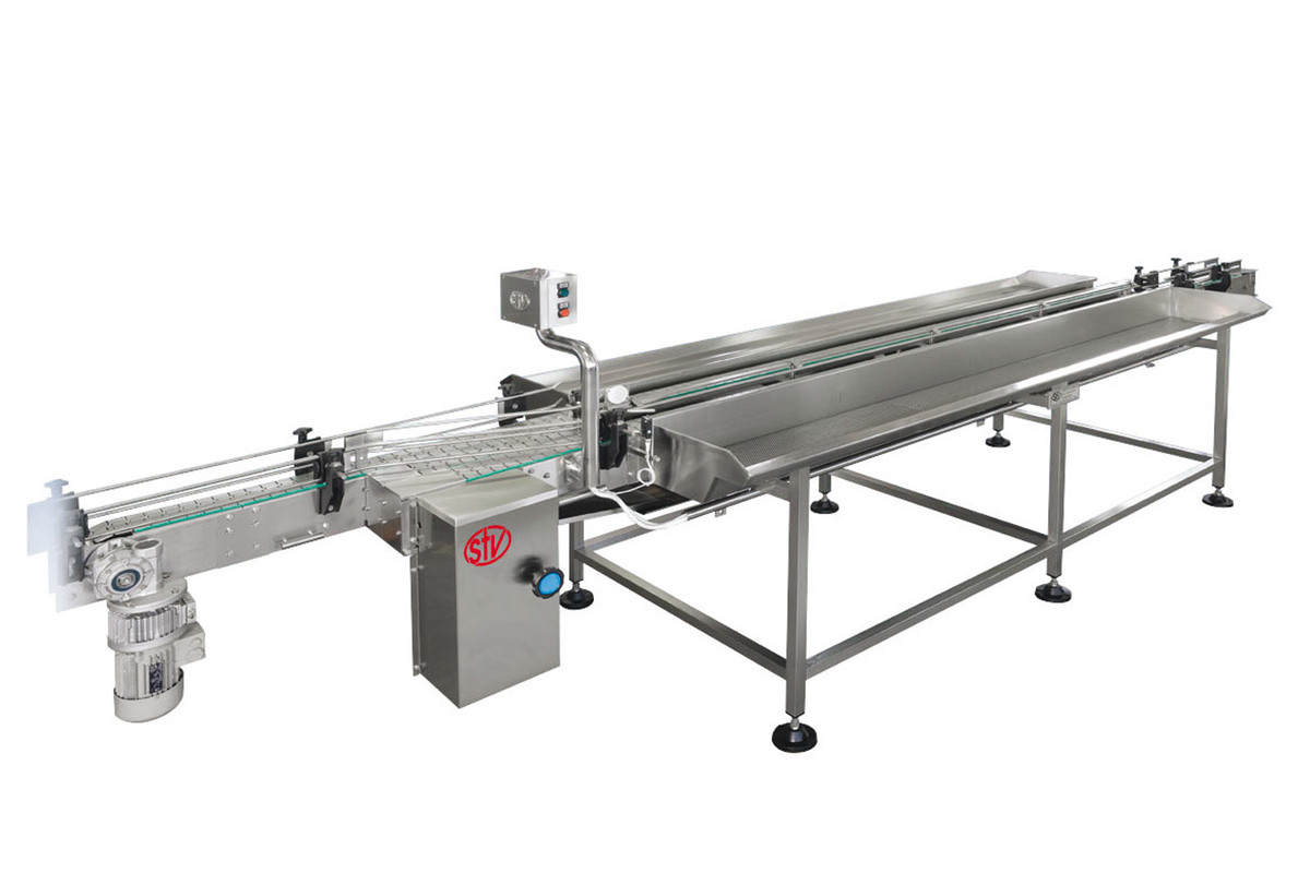 MOTOR-DRIVEN FILLING TABLE WITH 2 CONVEYORS